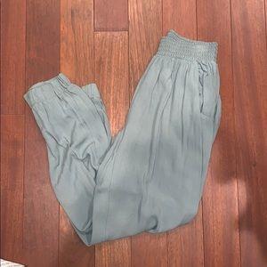 Olive green parachute pants